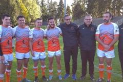Les frères BAJARD (àG) TAKACHOUET, LEGER (le staf) et LEVASSEUR après match RTC-DOLE 22-10-2017_164114